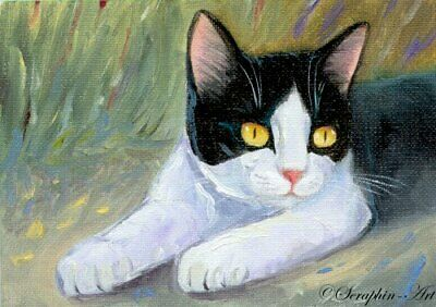 Tuxedo Cat Original ACEO Oil Painting Miniature Black Kitten Seraphin-Art