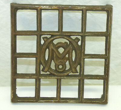 Antique Cast Iron Metal Ober OM Co Advertising Square Sadiron Trivet Stand