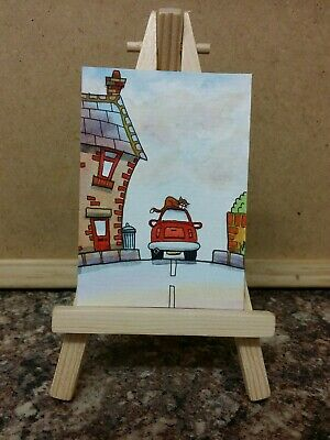 "Original Watercolour Painting ACEO ""Cat Asleep On The Car"" by Colin Coles"