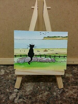 "Original Watercolour Painting Aceo ""Black Cat Visits The Beach"" by Colin Coles"