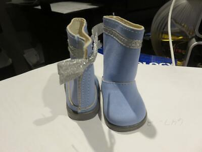 American Girl doll boots pale blue suede  velcro backs