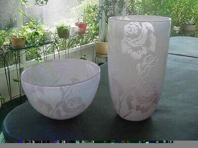 Art Deco Pink & White Carved ROSES in THICK GLASS Vase & Matching Bowl