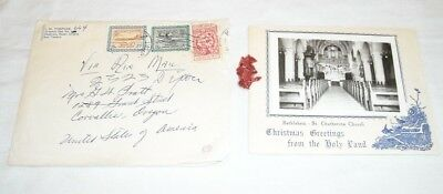 Christmas Card Bethlehem Holy Land Saudi Arabia Stamps ? Dried Flowers - 1963