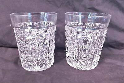 Antique ABP Cut Glass RARE SIGNED HAWKES PAIR OF WATER TUMBLERS