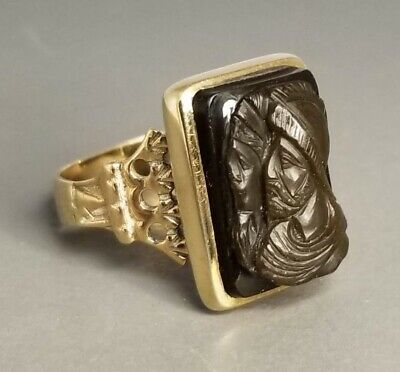 Antique Large Victorian 14k Solid Gold Carved Stone 2 Greco Roman Warriors Ring