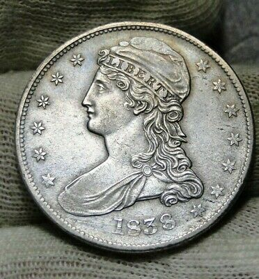 1838 Capped Bust Half Dollar 50 Cents -  Nice Coin Free Shipping (8810)