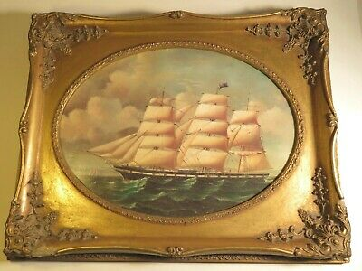 Nice Painting Of A Ship With An Ornate Frame