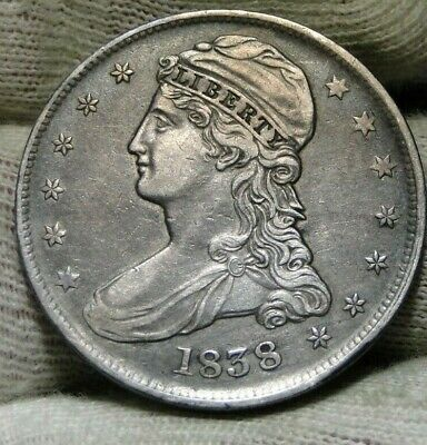 1838 Capped Bust Half Dollar 50 Cents -  Nice Coin Free Shipping (8814)