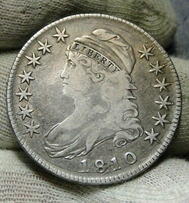 1810 Capped Bust Half Dollar 50 Cents - Nice Coin, Free Shipping (8832)