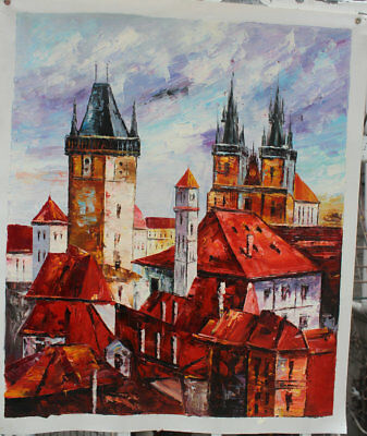 Hand-painted Wall art Canvas Decor knife Prague Street Abstract Oil Painting -2