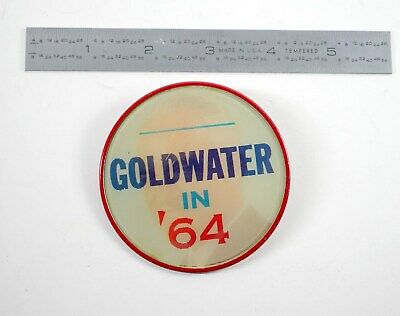 """Goldwater In '64 - Linticular 3"""" - Campaign Pin Presidential Race Gop  - R2"""