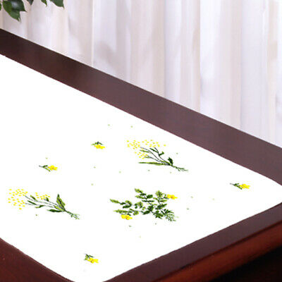 """Tobin Stamped For Embroidery White Dresser Scarf 14""""X39""""-Buttercups, 2310 53"""