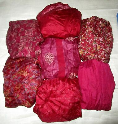 UK LOT PURE SILK Vintage Sari REMNANT Fabric 7 Pcs 1 foot ech Maroon #ABCT3