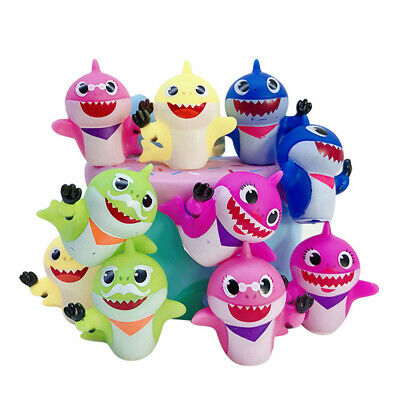 10PCS&8PCS Baby Shark Toy Set  Supplies Gift  Squeezed Doll Cake Decoration New