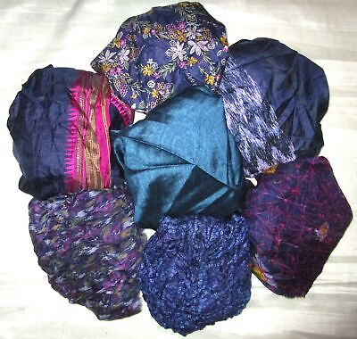 UK LOT PURE SILK Vintage Sari REMNANT Fabric 7 Pcs 1 foot ech Navy Blue #ABCT8