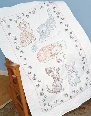 """Jack Dempsey Stamped White Lap Quilt Top 40""""X60""""-Kitty Cats, 940 461"""