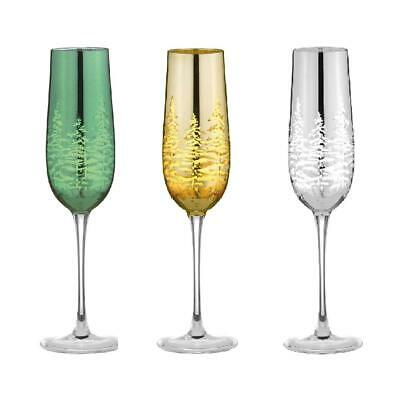 Artland Alpine Set of 2 Festive Flute Champagne Glasses 25cl in Various Colours