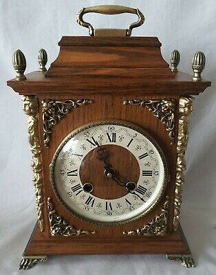 Dutch Mantel Clock 8 Day Hermle Key Wind Vintage Shelf Double Bell Strike