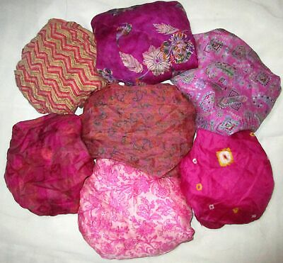 UK LOT PURE SILK Vintage Sari REMNANT Fabric 7 Pcs 1 foot ech Rani #ABCTD