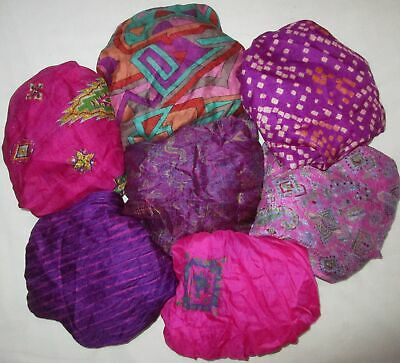 UK LOT PURE SILK Vintage Sari REMNANT Fabric 7 Pcs 1 foot ech Magenta #ABCTE