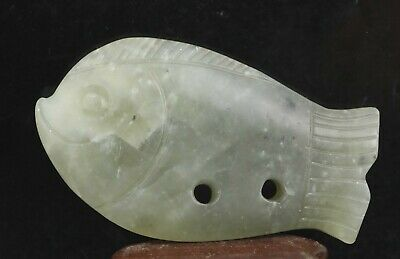 Chinese old natural jade hand-carved fish pendant 3.5 inch