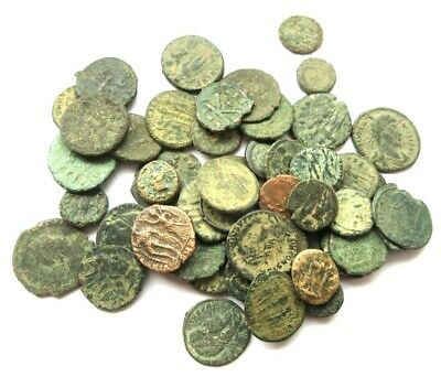 A lot of 50 x ancient Ae-coins, Greek and Roman from differend typs.
