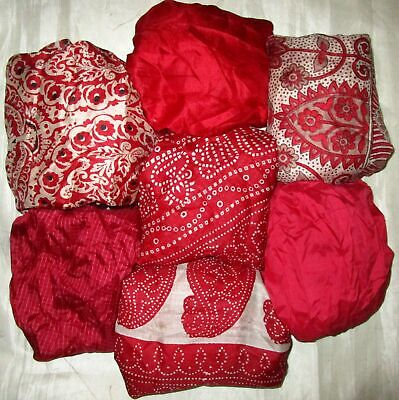 UK LOT PURE SILK Vintage Sari REMNANT Fabric 7 Pcs 1 foot ech Red #ABCTH