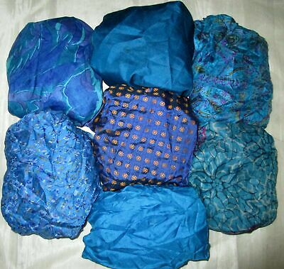UK LOT PURE SILK Vintage Sari REMNANT Fabric 7 Pcs 1 foot ech Blue #ABCTI