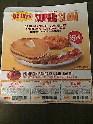 6 Denny's Restaurant Coupons 1 sheet expire 11/4/2019