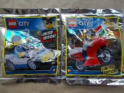 NEW LEGO CITY LIMITED EDN 2 POLICE MINIFIGURES POLICE CAR POLICEMAN /& SPEED TRAP