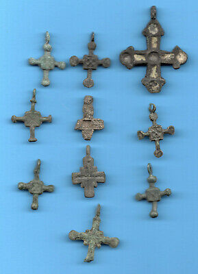 LOT OF 10 Ancient Viking Enamel Bronze Cross Kiev Russia ca 1100 Byzantine 29