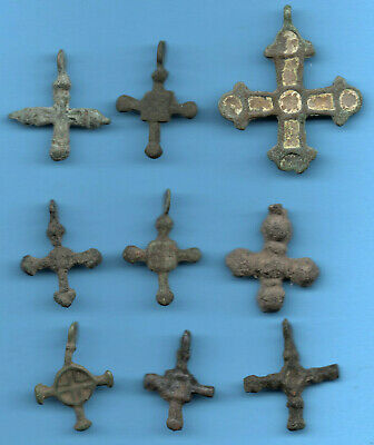 LOT OF 9 Ancient Viking Enamel Bronze Cross Kiev Russia ca 1100 Byzantine 40