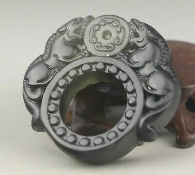 Chinese old natural jade hand-carved double dragon ring pendant 2.1 inch