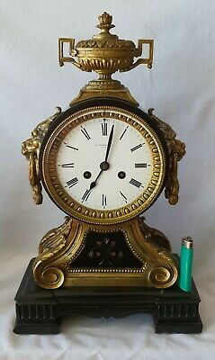 English Empire Clock Antique Wm Roskell & Co Liverpool Black Marble 14 Day Rare