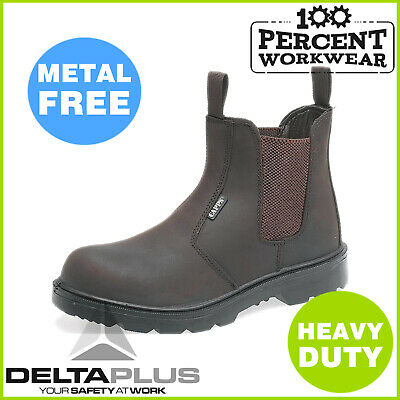 Pro Heavy Duty Metal Free Work Safety Leather Dealer Boots Slip On Shoes Toe Cap