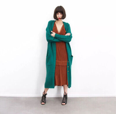 Maglione lungo maxi donna verde oversize vintage cardigan sweaters women green M