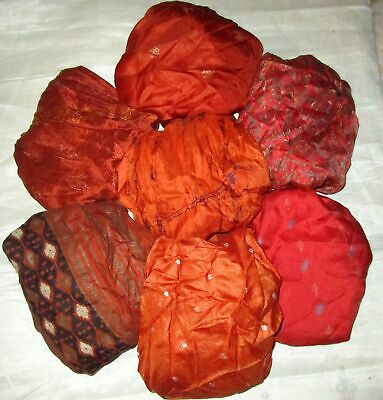 UK LOT PURE SILK Vintage Sari REMNANT Fabric 7 Pcs 1 foot ech Rust #ABCTN