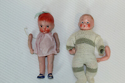 Lot 2 Vintage As Found Composition Bisque Porcelain Dolls - Painted Faces