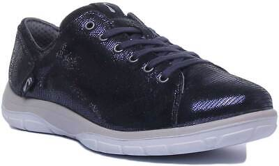 Strive Weston Womens Leather Comfy Orthotic Trainers In Carbon UK Sizes 3-7