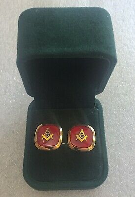 "Vintage ANSONS ""G"" MASONS ~FREEMASONRY Masonic Cufflinks Gold Tone & Red Enamel"