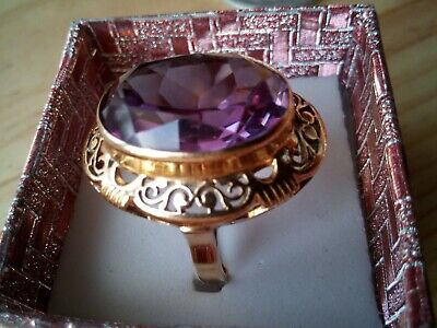 BEAUTIFUL GOLD RING WITH THE HUGE STONE 18k gold antique, famous 'WARMET' unique