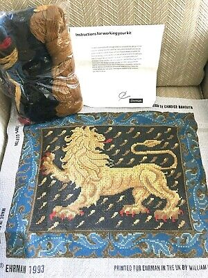 Ehrman Needlepoint Kit Medieval  Black Lion by Candace Bahouth England New!