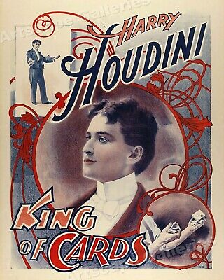 Houdini - The King of Cards Vintage Style Magic Poster - 24x30