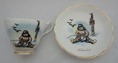 Vintage Alaska Inuit Eskimo Child Tea Cup & Saucer Winston Bone China England