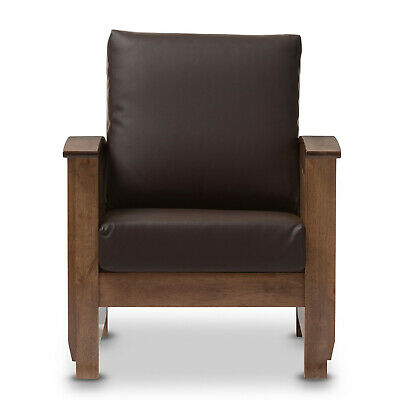Terrific Mission Style Walnut Brown Wood Faux Leather Chair Loveseat Caraccident5 Cool Chair Designs And Ideas Caraccident5Info