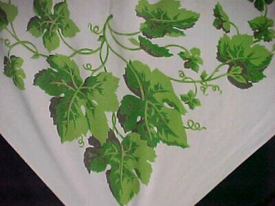 "Vintage Tablecloth Printed Cotton 1940s Grape Leaves Wilendur 44x52"" Estate Find"