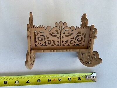 Antique Old Wood Baby Cradle Black forest Victorian Childs Rocking Bed ~ Doll sm