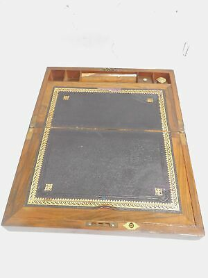 Antique Folding WRITING SLOPE Box Leather Top Ink Bottle Nibs Compartments - L27