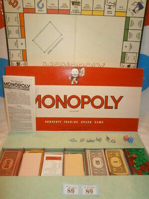 Vintage 1960'S Waddingtons Monopoly Board Game   - Very Good Condition For Age