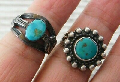 Vtg OLD PAWN Harvey Era STERLING SILVER TURQUOISE Arrow RING Lot